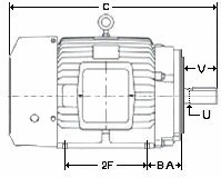 Motor dimensions for Metric motor frame sizes